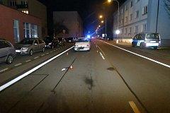 Místo dopravní nehody vozidla s chodcem v Bohumíně.