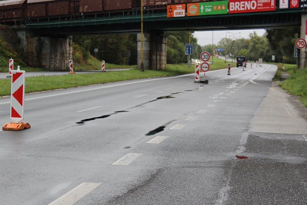 Uzavírka na Ostravské ulice před Havířovem.