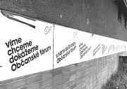 Předvolební agitace někdejšího revolučního Občanského fóra.