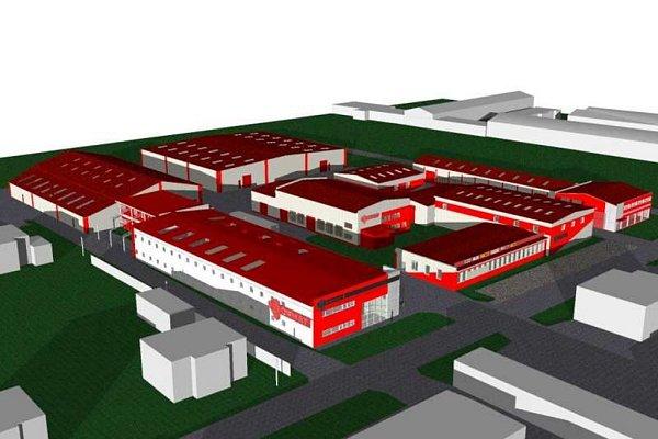 Vizualizace výrobního a logistického centra.