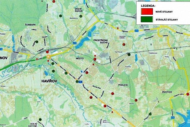 Mapa stanovišť bikeshargingu vHavířově.