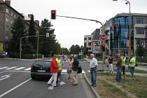 Rekonstrukce nehody sanitky s osobním automobilem.