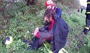 Záchrana tonoucího z rozvodněné řeky Lučiny v Havířově.