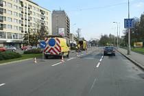 Modernizované semafory v centru Havířova. Instalace smyček do jízdních pruhů.