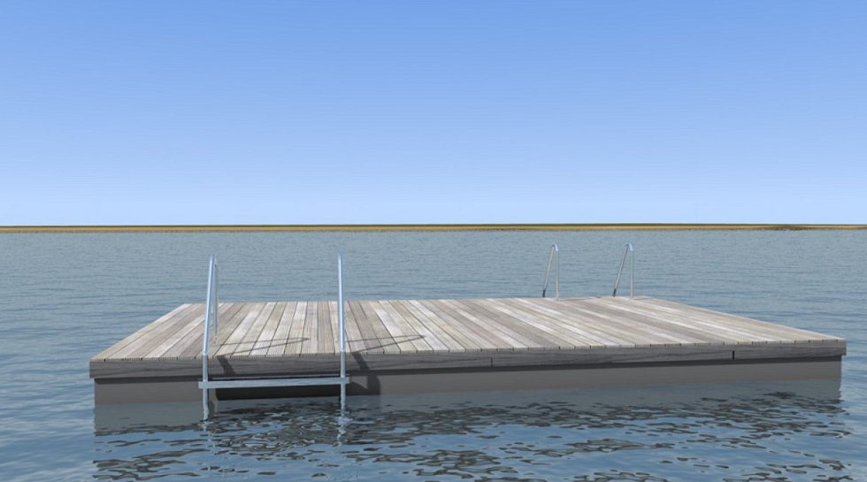 Vizualizace plovoucího mola, které by mělo vzniknout na Vrbickém jezeře.