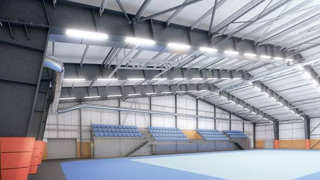 Vizualizace interiéru nové sportovní haly.