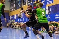 Házenkáři Baníku (v zeleném) v rozhodujícím utkání na Lovosice nestačili.