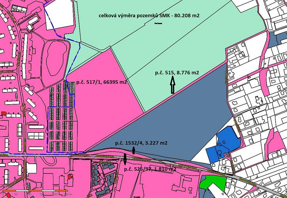 Karviná-Mizerov. Na mapce je znázorněn pozemek, který patří městu a kde by měly vyrůst nová zástavba. pozemek č. 517/1.
