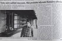 Článek o Karlu Kotulovi a jeho dřevěnce.