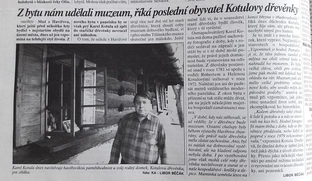 Článek oKarlu Kotulovi a jeho dřevěnce.