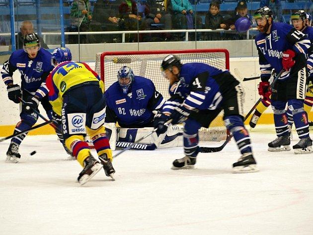 Havířov (vmodrém) ve skvělém utkání porazil lídra zČeských Budějovic.