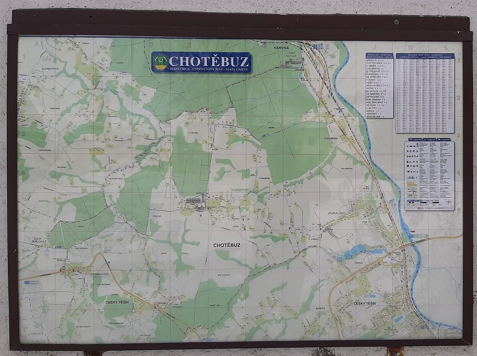 Chotěbuz, mapa obce