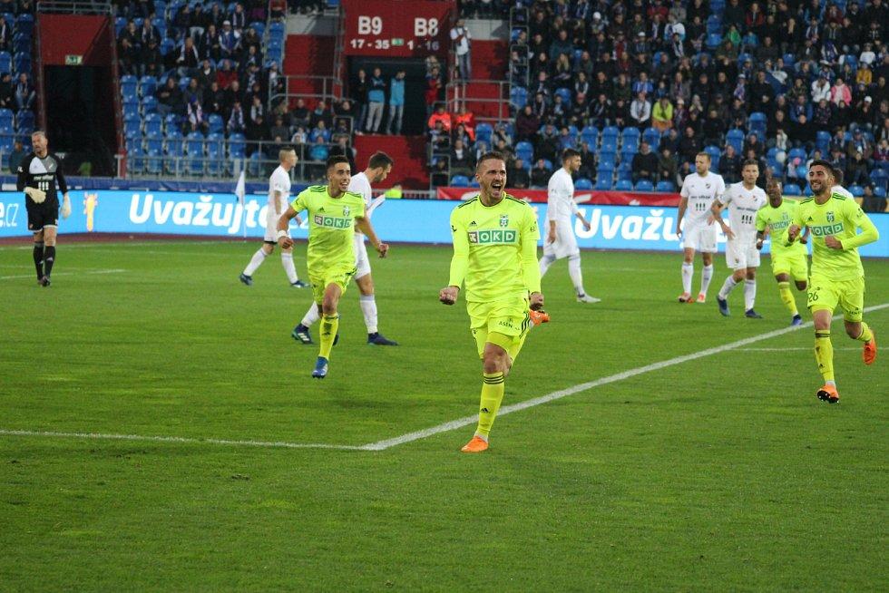 Dávid Guba slaví gól do ostravské sítě.
