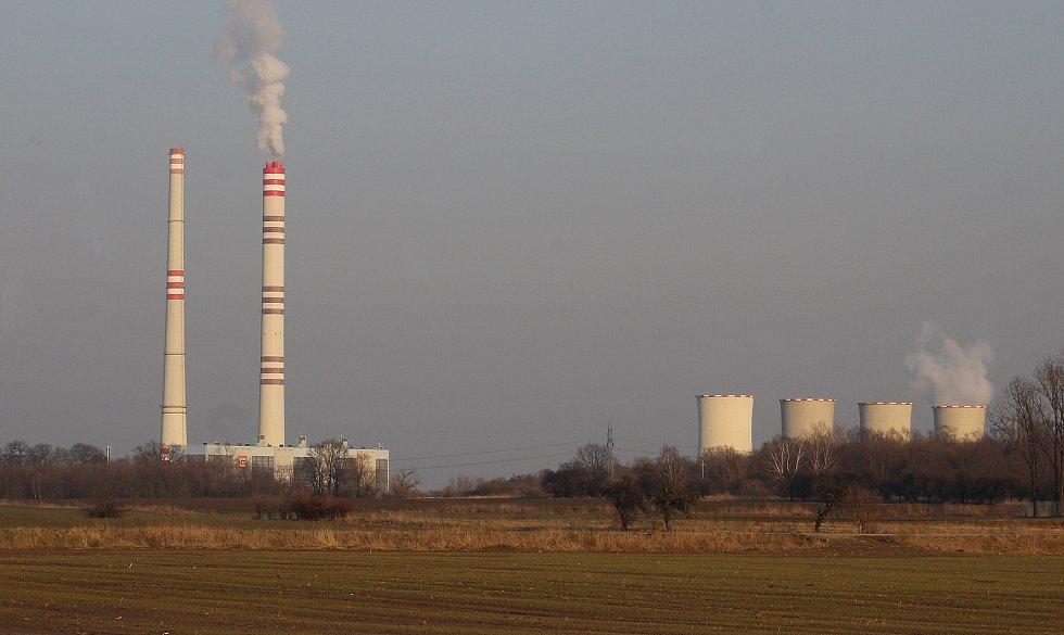 Dolní Lutyně. Pohled na elektrárnu Dětmarovice