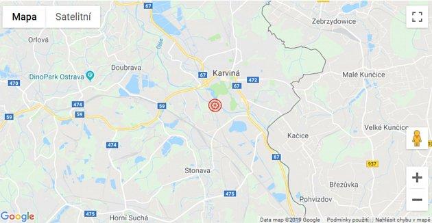 Mapa znázorňující místo epicentra otřesu 23.8.2019. .