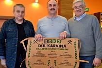 Rekordmani. Zleva Tadeusz Dziugieł, Witold Woźniak (po Stefanu Gulakowi nový předák) a Jan Nowakowski.