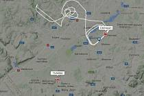 Snímek ze serveru Flightradar24 zachycuje oba letouny v době přistání, každý z jiné strany ostravského letiště v Mošnově. A320 označený TVS2594 z jihu musel přistání přerušit a opakovat.