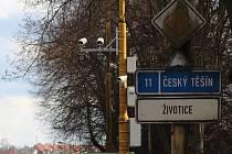 Úsekový radar na Národní třídě v Havířově. Výjezdní místo.