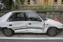 Místo dopravní nehody v Orlové.