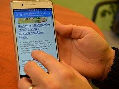 Bohumínský městský web na mobilním telefonu.