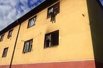 Požár domu v Orlové.
