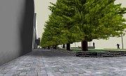 Vizualizace budoucí podoby korza podél stromořadí čínských metasekvojí mezi Labužníkem a kinem Centrum v Havířově.