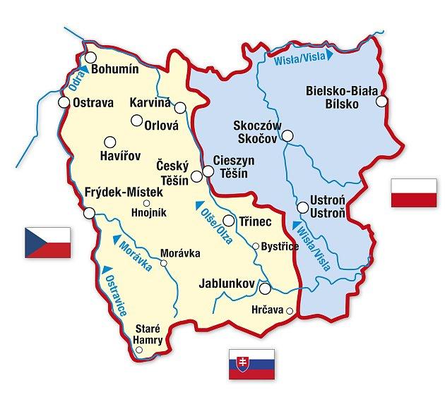 Mapka těšínského Slezska po rozdělení vroce 1920.