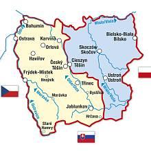 Mapka těšínského Slezska po rozdělení v roce 1920.