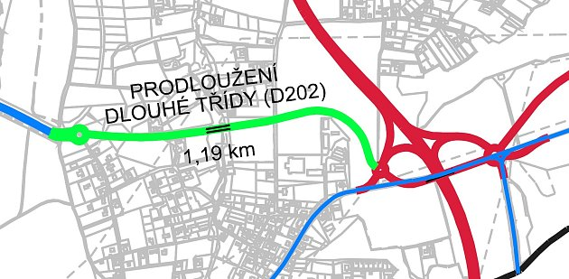 Návrh trasy prodloužené Dlouhé třídy a obchvatu města Havířova.