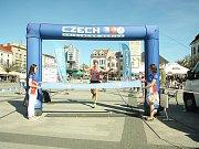 Vítěz mužské části závodu Jan Volár dobíhá do cíle.