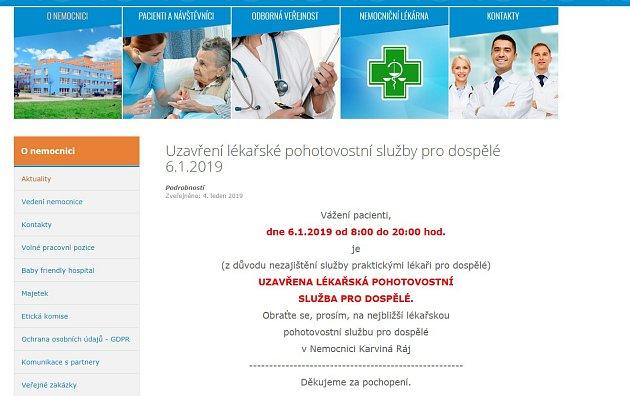 Oznámení ouzavření pohotovosti vhavířovské nemocnici.
