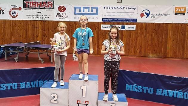 Nejlepší hráčky kategorie dívek 1. až 3. třída. Zleva druhá Laura Luňáková, vítězná Karolína Bezdíčková a třetí Helena Gažiková.