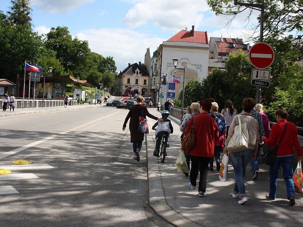 Hraniční přechod mezi Českým Těšínem a polským Těšínem.