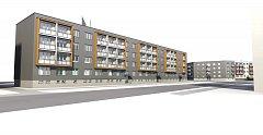 Vizualizace podoby panelového domu.
