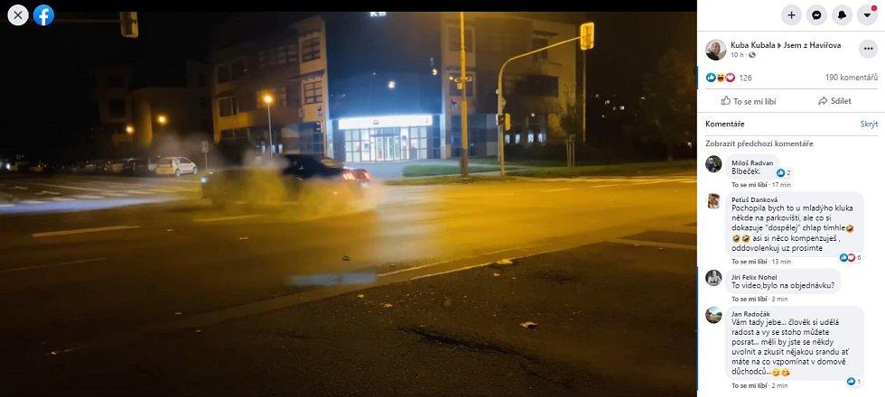 Snímek z videa na sociální síti Facebook - skupina Jsem z Havířova, příspěvek Kuba Kubala.