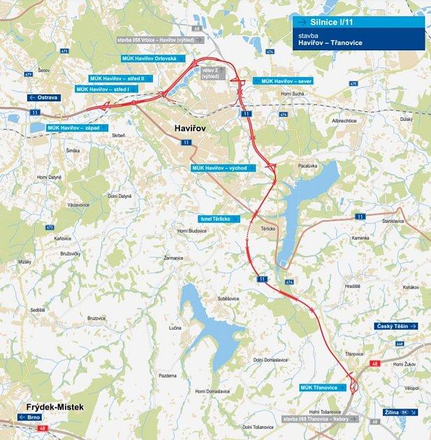 Mapka strasou plánovaného silničního obchvatu Havířova.