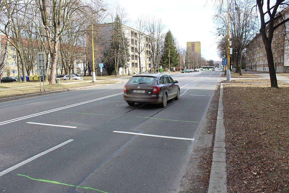 Úsekový radar na Národní třídě v Havířově. Bod fotografování při výjezdu z měřeného úseku.