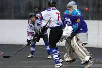 Hokejbalisté Karviné (v bílém) se za výkon proti favorizovanému Ústí určitě nemusejí stydět.
