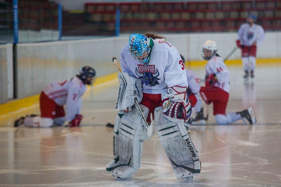 Karvinské hokejistky (v bílém).