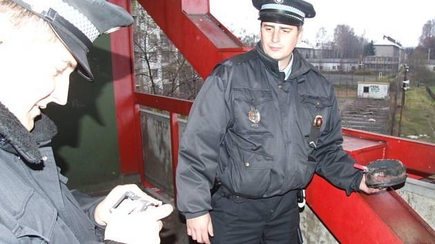 Strážníci dokumentují jednu z dýmovnic