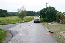 Nehoda motocyklu s osobním automobilem