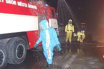 Cvičení dobrovolných hasičských sborů z Havířova a Šenova