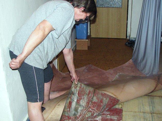Paní Vlasta Janíková ukazuje, jakou spoušť jí nadělal nedávný přívalový déšť v bytě.