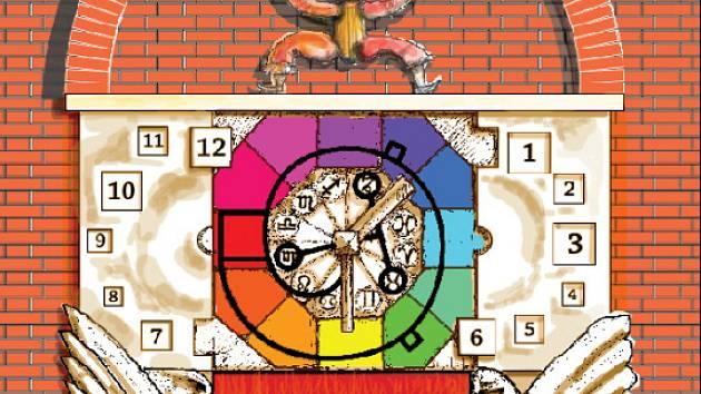 Návrh výtvarníka Tomáše Volkmera na podobu orloje (výřez návrhu).
