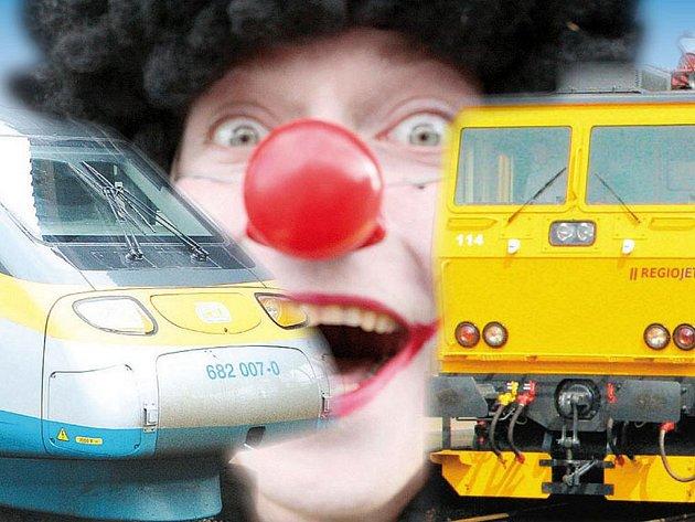 V konkurenčním souboji vlakových dopravců došlo i na klaunské červené nosy. Výtěžek pomůže nemocným dětem