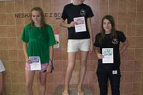 Mladé plavkyně karvinských Kosatek dokázaly, že jim to sluší i na podiu, o což se zasloužily svými kvalitními výkony na oblastních přeborech žactva. Na prvním místě Gabriela Krzyžanková, třetí Eliška Kratochvílová.
