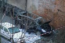 Požár automobilu v Českém Těšíně