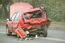 Nehoda sanitky s osobním vozem v Horní Suché