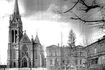 Kostel Nejsvětějšího Srdce Ježíšova a církevní rezidence kolem roku 1900.