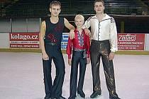 Trojice krasobruslařů (zleva) Timčák, Krhovják a Janečko.